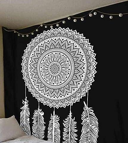 indien Mandala Tapisserie Dream Catcher Décoration murale à suspendre, Reine Drap de lit Art mural, Noir et Blanc, lit en coton, Noël, décoration de chambre
