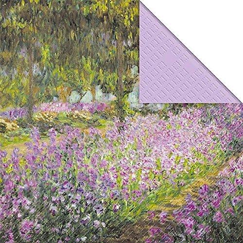 (Monet Flower Bed Design 3-lagig bedruckt Papier Serviette Stewo/20pack–33x 33cm)