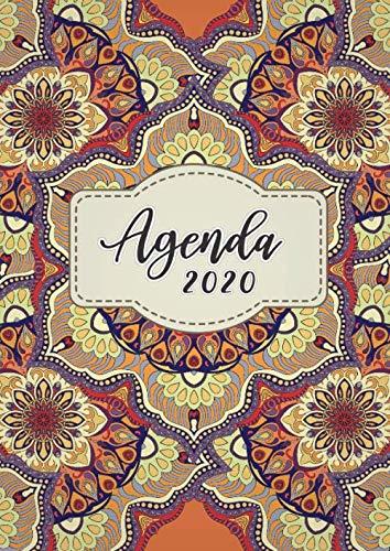 Agenda 2020: Tema Mandalas Agenda Mensual y Semanal + Organizador Diario I Planificador Semana Vista A4 Color naranja aqua
