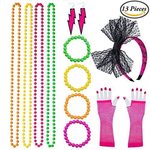 Keriber Plastic Neon Armbänder Multicolor Bead Halsketten Spitze Bogen Stirnband Lange Fischnetz Handschuhe Beleuchtung Ohrring 80er Party Kostüm Zubehör - 80er Jahre Familie Kostüm