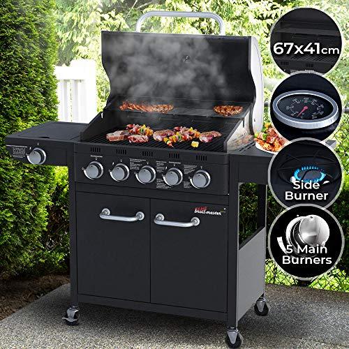 broil-master Barbecue à Gaz | 5 Brûleurs Principaux + 1 Latéral, en Acier, avec Thermomètre et...