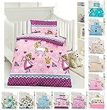Kinder Bettwäsche, Babybettwäsche 100x135 cm + 40x60 cm 100% Microfaser in verschiedenen Designs, Lola Pink