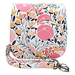 Ablus Instant Camera PU Leather Case Bag for Fujifilm Instax Mini 8 8+ 9 Instant Film Camera with Shoulder Strap (Forest Pink)