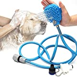 Fing Dog Bathing Tool Pet Grooming Glove Pet Hair Remover Bathtub Dog Shower Attachment with Massaging&Grooming Glove, 3…