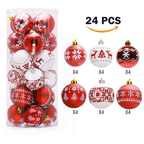Lnkey 24 Bolas de Navidad blanco y rojo, Inastillable decoración exquisita boda Fiesta Navidad bolas adornos árbol(24 / Pack,Rojo y blanco, 60 mm de diámetro)