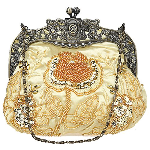 Belsen Ladies Retro Rose Beaded Bag Paillette Party Borsette Da Sposa Oro