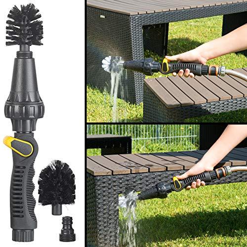 Royal Gardineer Waschbürste: Rotierender Reinigungsbürsten-Aufsatz für Gartenschlauch, regulierbar (Bürste mit Wasseranschluss)
