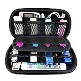 Ropch Tragbare Aufbewahrungstasche Elektronik Zubehör Tasche Festplattentasche Schutzhülle Reise Organizer Reisetasche für USB-Sticks Festplatten Kabel - Schwarz