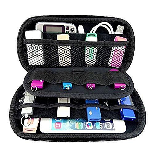 Ropch Tragbare Aufbewahrungstasche Elektronik Zubehör Tasche Festplattentasche Schutzhülle Reise Organizer Reisetasche für USB-Sticks Festplatten Kabel - Schwarz (Tasche Geldbörse Doppelte)