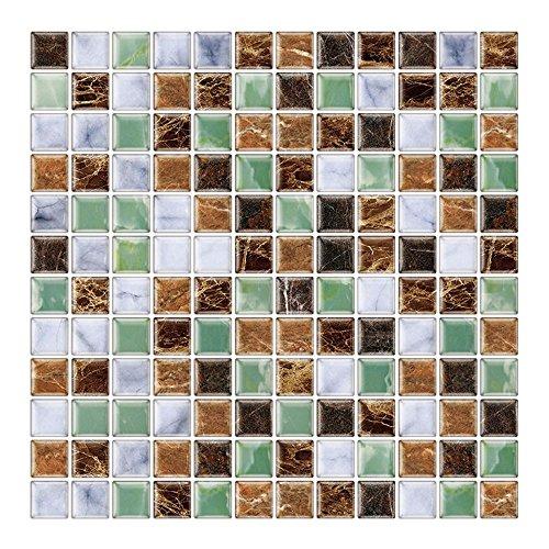 Render 6 Pezzi 3D Autoadesivo Adesivo Muro di Piastrelle, Buccia e Bastone Vinile Carta da Parati Anti Muffa Bagno Cucina Decorazione 1 sq.ft/Pezzo (Mosaico Verde Marrone)