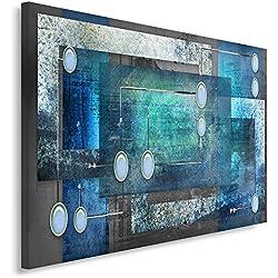 Feeby Frames, Tableau imprimé XXL, Tableau imprimé sur Toile, Tableau Deco, Canvas 80x120 cm, Abstraction, Cercles, Rectangles, Cadres, Gris, Bleu