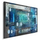 Feeby Frames, Tableau imprimé XXL, Tableau imprimé sur Toile, Tableau Deco, Canvas 60x80 cm, Abstraction, Cercles, Rectangles, Cadres, Gris, Bleu