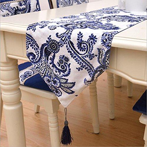Miaoge Moda pizzo pizzo blu e bianco table bandiera table runner cinese cotone stampa Wallpapers 32*180cm