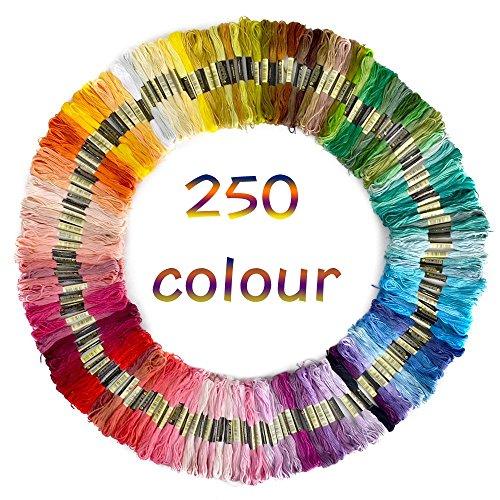 50/100/150/250 Docken Sticktwist Stickgarn 8m 6/faedig Multicolor farblich bunt Basteln Set