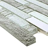 Mosaikfliesen Zaide Glas Alu Mix Silber Grau | Wand-Mosaik | Mosaik-Fliesen | Naturstein-Mosaik | Fliesen-Bordüre | Ideal für den Wohnbereich und fürs Badezimmer (auch als Muster erhältlich)