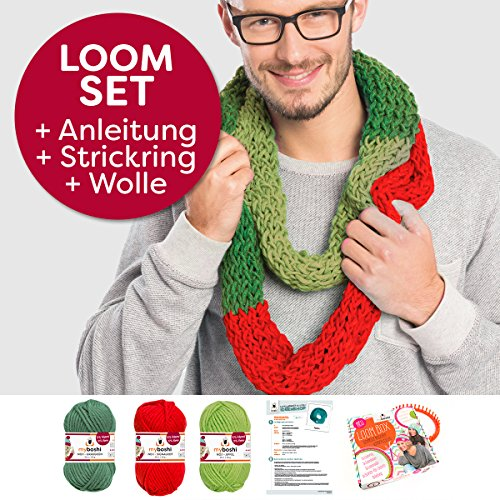 Myboshi Handarbeits-Set Loom-Set Loop-Schal Granada: Strickring + Loom-Anleitung + 3x Strick-Wolle + selfmade Label Farben: (Grasgrün, Signalrot, Apfel)
