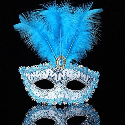 CAOLATOR Feder Maske Venezianische Maskerade Prinzessin Maske Halbe Gesichtsmaske Maskenspiel Bühnen-Performance für Männlich und Weiblich (Maskerade Masken Weibliche)