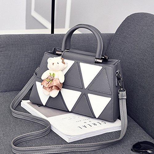 mujer-pu-de-cuero-ligero-bolso-de-hombro-bolsa-de-mensajero-ajustable-simple-wild-tote-bag-deep-gray