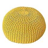 Design Strick Pouf LEEDS gelb 50cm Baumwolle in Handarbeit Sitzkissen Fußhocker Sitzpouf gepolstert Bezug aus Strick Garn Sitzgelegenheit