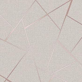 Fine Décor Fd42282 Quartz Fractal Wallpaper Rose Gold