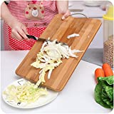 #6: Kurtzy Wooden Bamboo Kitchen Chopping Cutting Slicing Board with Holder for Fruits Vegetables Meat