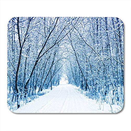 ads, Gaming Mouse Pad Blue Wonderland Winter Forest Path Snow White Park Scene Snowy 11.8
