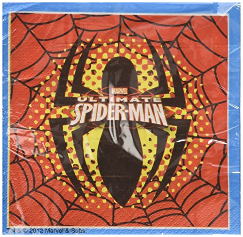 procos-81526-tovaglioli-carta-ultimate-spider-man-33-x-33-cm-2-veli-20-pezzi-rosso-blu