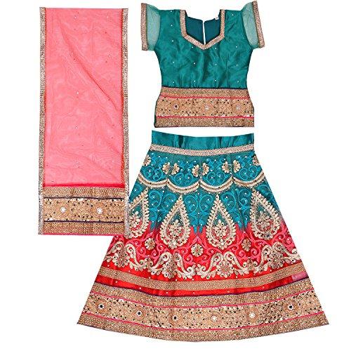 Wish Karo Girl's Green & Tomato Net Stitched Ghaghra Choli, Leghnga Choli,...