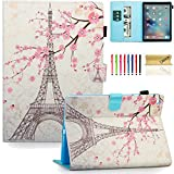 "New iPad 9.7 2017 Case, Dteck(TM) Ultra Slim Smart PU Leather Wallet Case [Card Slots] with Auto Wake/Sleep Smart Shell [Corner Protection] for iPad 9.7"" 2017 Model, Eiffel Tower"