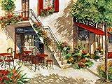 Eurographics Leinwandbild, Flower-Café in Paris III, Terrasse mit Blumen vor Haus, Gemälde, Bunt, 80 x 60 x 3,5 cm