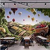 XZDXR Mural Bloque 3D Mural para Sofá Fondo Restaurante Fruta Colorido Mural, 366X254Cm