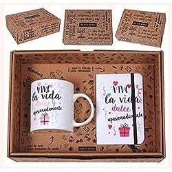 Set de Caja Regalo con Mensaje, Taza y Libreta A6 con Goma, Cerámica, 25x7x20 cm