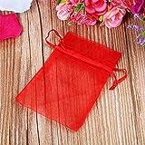 Jooks 100 Stück Geschenkbeutel Säckchen Organza Beutel Saeckchen Organzabeutel Vervollkommnen Sie als Hochzeit Bonbonsbeutel schmuckbeutel Geschenk Beutel 7x9cm(Rot)