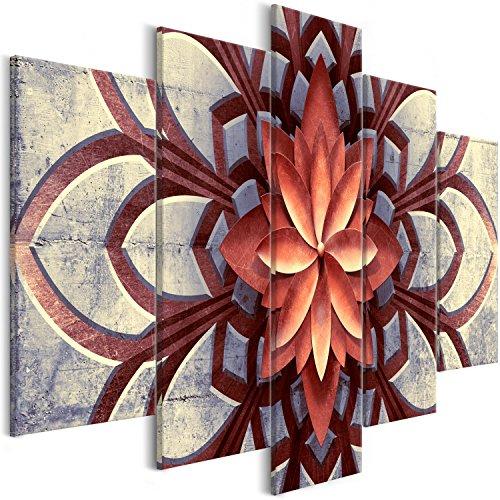 murando - Cuadro en Lienzo Mandala 100x50 cm - Impresion en Calidad fotografica - Cuadro en Lienzo Tejido-no Tejido - 5 Partes - Flores Concreto f-A-0678-b-m
