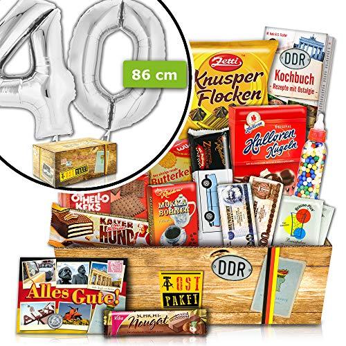 40. Geburtstag Geschenkideen | DDR Süßigkeiten Set | INKL. FOLIENBALLON 40 Silber