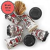 80 Bicchieri Carta per Prendere il Caffè 'SO Design' – Tazza con Coperchio di 12 Oncia per Prendere il Caffè con le Stiratrici di Legno per il Prendere il Caffè, il Tè, le Bevande Calde e Fredde