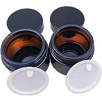 LONGCHAO 2 Stück 50ml Amber Glas Leerdose klarer Tiegel Cremedose Leer Leerdose Leere Nachfüllbare Behälter Braunen…