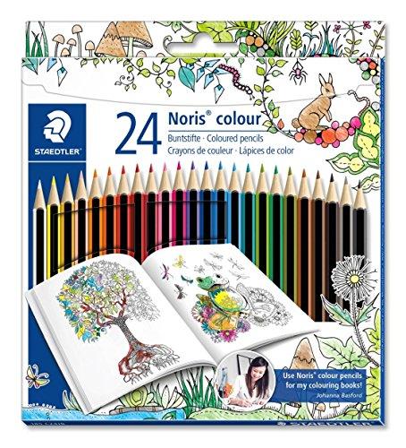 Staedtler Noris colour 185 C24JB Buntstifte, erhöhte Spitzen-Bruchfestigkeit, sechskant, Set mit 24 brillanten Farben, Wopex Material, PEFC-Holz, DIN EN71, Johanna Basford Edition