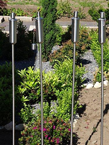 4 x Gartenfackel Ölfackel Edelstahl Fackeln XXL 120 cm rostfrei wetterfest - Garten Fackel in Premium Qualität, mit Metallerdspieß, weitere Gartenfackeln erhältlich