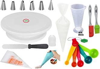 hpk Plastic Cake Decoration Tools with Full Rotating Round Table and Accessories, Multicolour