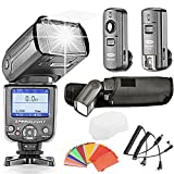 Neewer® *COLOR-SCREEN* i-TTL Camera Flash Kit for Nikon D3S D50 D60 D70 D70S D80 D80S D200 D300 D300S D700 D3000 D3100 D5000 D5100 D7000 and All Other Nikon DSLR Cameras, includes (1) NW-985N Flash, (1)Diffuser, (1)3-in-1 2.4Ghz 16 Channels Wireless Flash Trigger, (1)35-Color Gel Filter Set, (1)Deluxe Flash Case, (2)Cables(N1-Cord + N3-Cord)