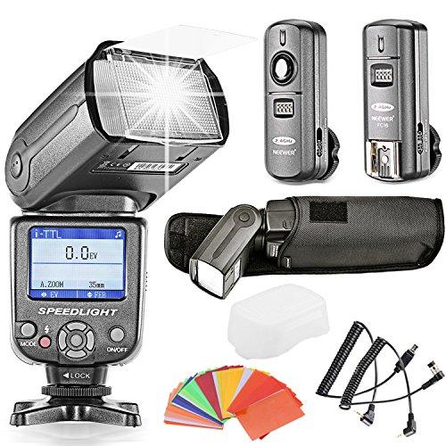 Neewer® NW985N *Farben TFT-Display * High Speed Synchronisation I-TTL Flash Blitz Blitzgerät Set für Nikon D7000 D5300 D5200 D5100 D5000 D3300 D3200 D3100 D800 D40, D40X, D50, D60, D70, D70S, D80, D80S, D90, D200, D300 und alle übrigen Nikon Kameras, Von Kamera beinhaltet:(1) NW985N Pro TTL Blitzgerät + (1) Hart Blitz Diffusor + (1) 2,4GHz 3-in-1 Funk Auslöser + (1) N1- Cord Kabel & N3-Cord Kabel für Fernbedienung + (1) 35 stk Blitz Farbfilters