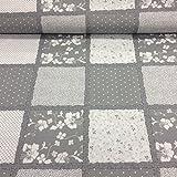 Erstklassiger Baumwollstoff 0,5lfm, 100% Baumwolle, modische Muster, Breite 160cm - Patchwork Grau