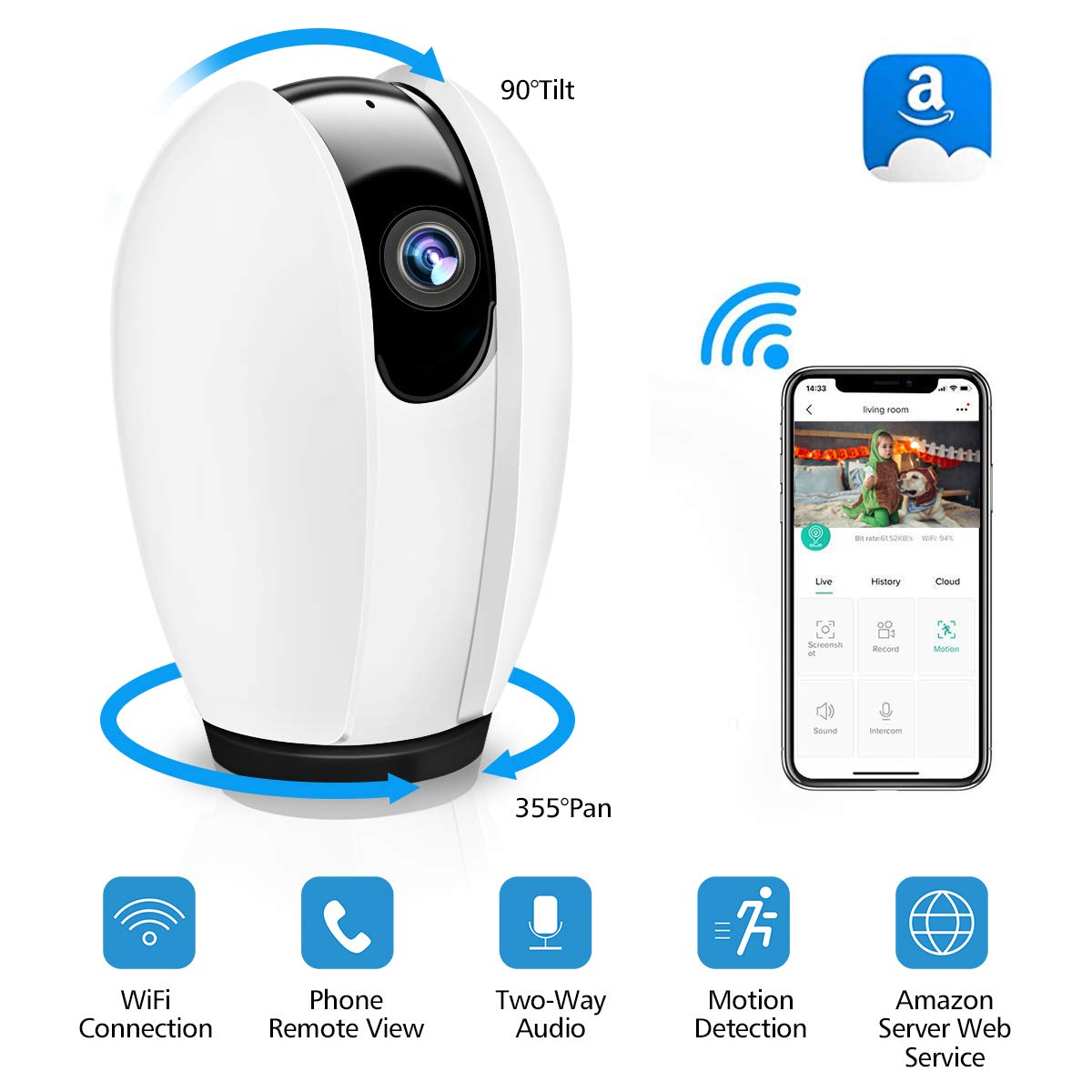 DIGOO IP Camera,WiFi IP Camera Wireless Security Home Camera with Night Vision,Motion Detection,Two-way Audio,Indoor Pan…