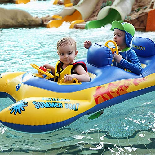L&WB Schwimmen Float Doppel Schwimmring Aufblasbare Baby Pool Floatation Spielzeug Mit Abnehmbarem Sonnendach Für Alter Mehr Als 6 Monate Alt 5