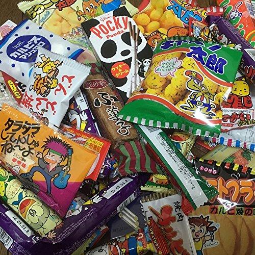 Dagashi Kasten Japanische Snacks 100cs Umaibo Süßigkeit Gumi Kartoffelchip Kitty Schokolade mit AKIBA-KING Aufkleber -