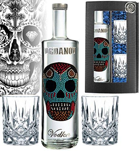 100% Vodka   Geschenk-Set Mexican Skull  Luxus-Wodka Iordanov in der Geschenkbox Chrome inklusive 2 edlen Tumblern   für Mann und Frau Geburtstag  mit Geschenkkarte