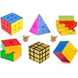 Toy Arena Deal Cubes Pack 2x2, 3x3, 4x4, 5x5, Gold Mirror, & Pyramid Puzzle Cube Combo Set Contains Speed-Cube Pack of 6…