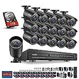SANNCE 1080P Überwachungskamera Set, 16Kanal Videoüberwachung, DVR Recoder mit 16 x 2.0MP Metall Kamera IP66 Sicherheitskamera Überwachungssystem mit 3TB HDD Nachtsicht Fernbedienung durch Android/iOS