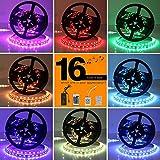 Toplanet 5050 RGB Bande Ruban Led Strip Lighting DC 12V 300 SMD LEDS 5m Télécommande pour TV Bureau PC Intérieur Décoration